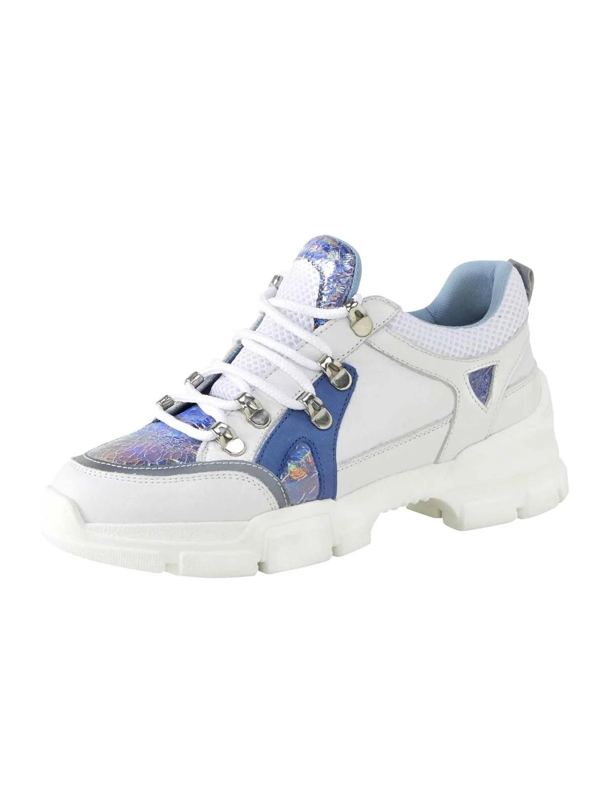 bequeme Schuhe HEINE Leder-Sneaker, weiß-blau-silberfarben 656.253 Missforty.