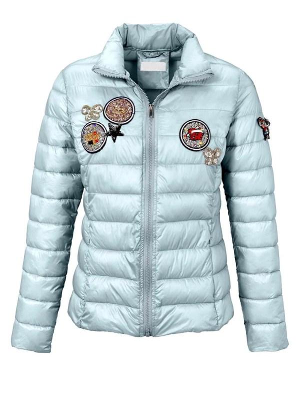 jacken auf rechnung bestellen als neukunde RICK CARDONA Damen Designer-Steppjacke Pailletten Stickerei Patches Eisblau 696.848 MISSFORTY