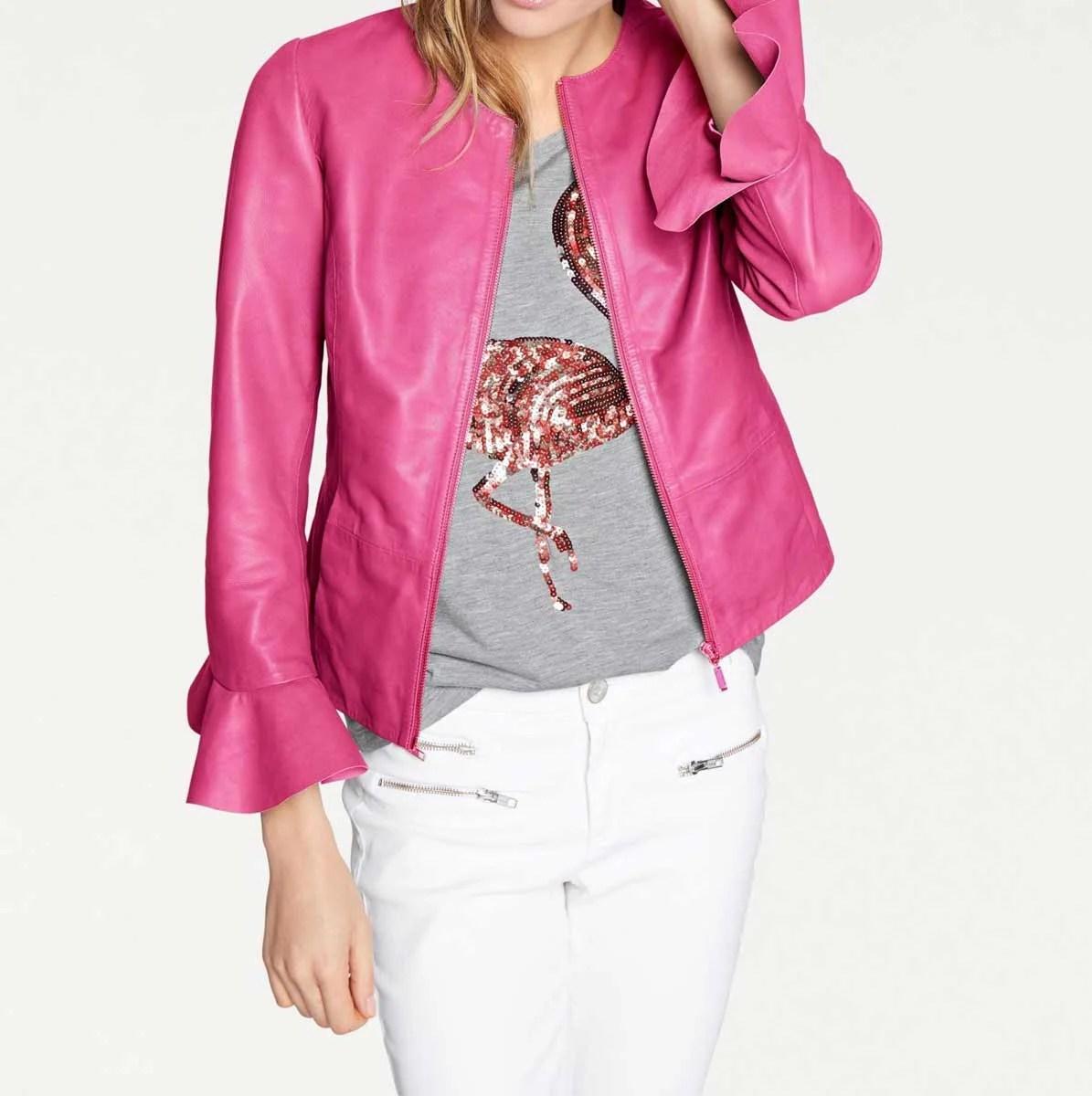 jacken auf rechnung bestellen als neukunde HEINE Damen Designer-Lammnappalederjacke m. Volants Pink 697.425 MISSFORTY
