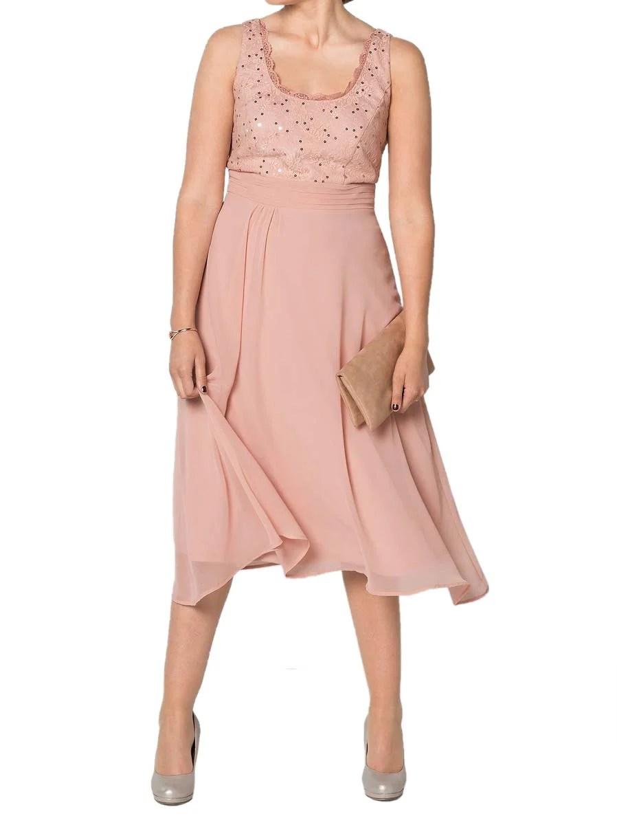kurzes kleid für besondere anlässe Sheego Cocktail-Chiffonkleid m. Spitze rosé 716.706 Missforty