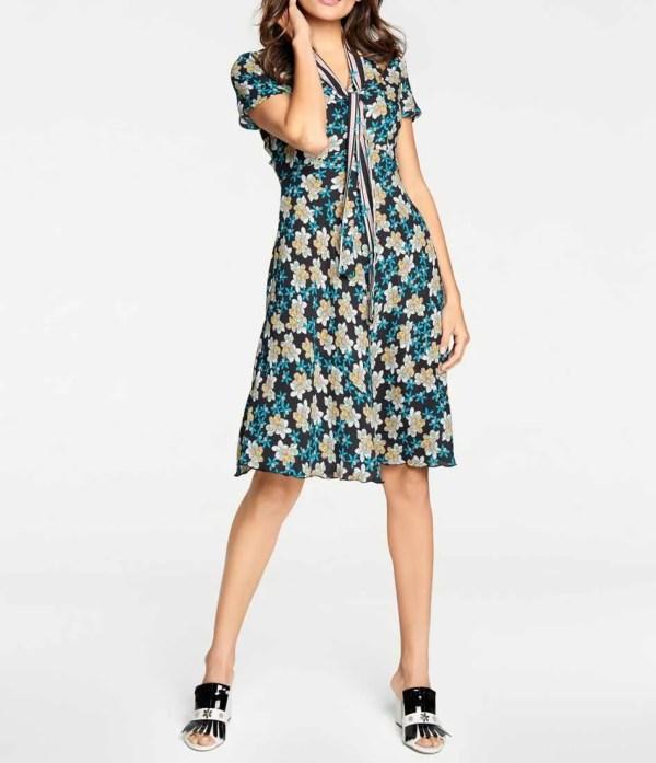 wadenlange kleider für besondere anlässe ASHLEY BROOKE Damen Designer-Druckkleid mit Schluppe Bunt 742.528 missforty
