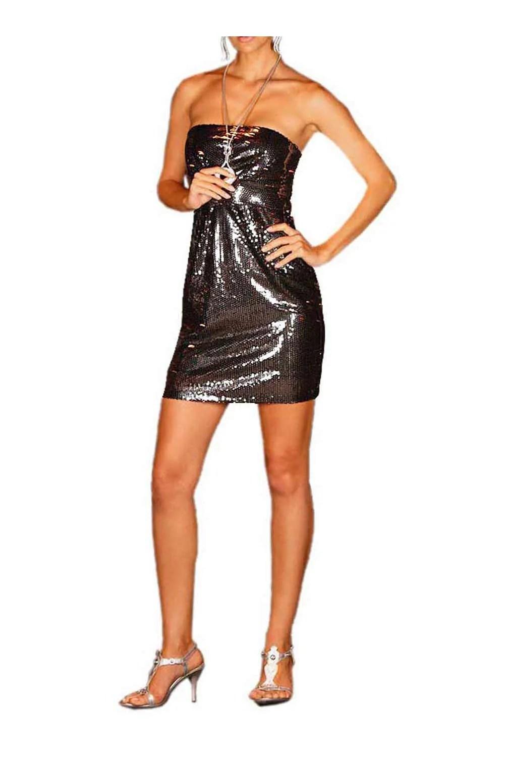 kurzes kleid für besondere anlässe Pailletten-Bustierkleid, grau-schwarz von Laura Scott Evening Grösse 38 778.276 Missforty