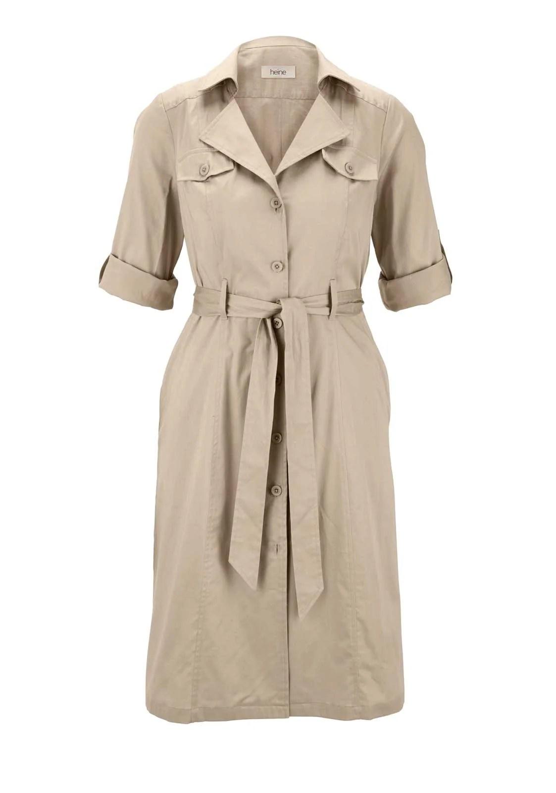wadenlange kleider für besondere anlässe HEINE Damen Hemdblusenkleid Kiesel 927.286 missforty