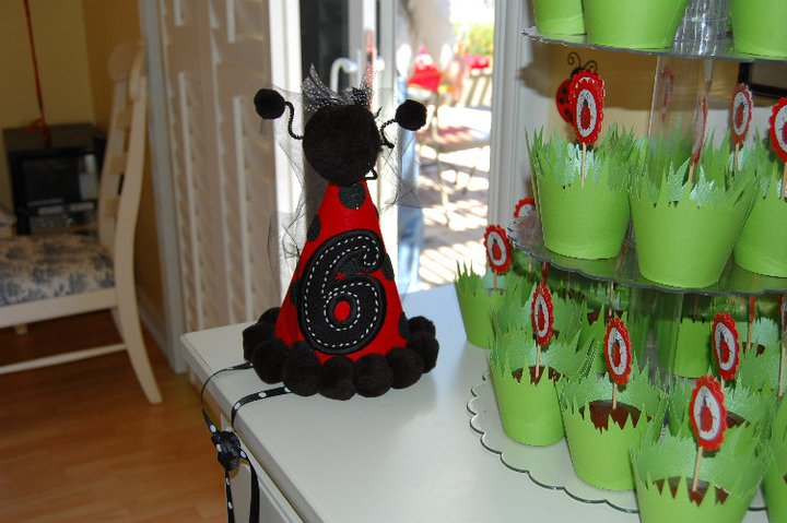 Outdoor Ladybug Garden Party Cupcakes & Birthday Hat| missfrugalfancypants.com