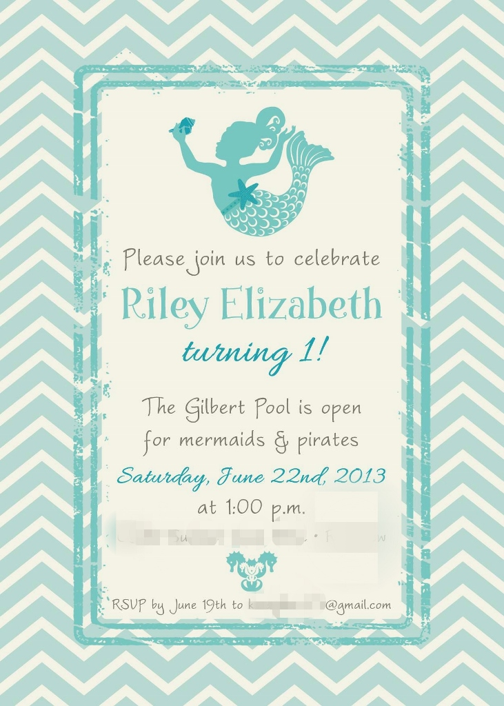 Little Mermaid Under the Sea 1st Birthday Party Invitation | missfrugalfancypants.com