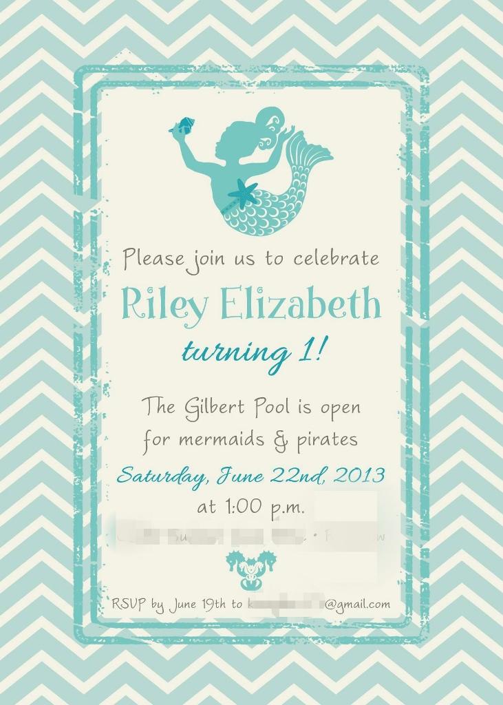 Little Mermaid Under the Sea 1st Birthday Party Invitation | missfrugalfancypants.com
