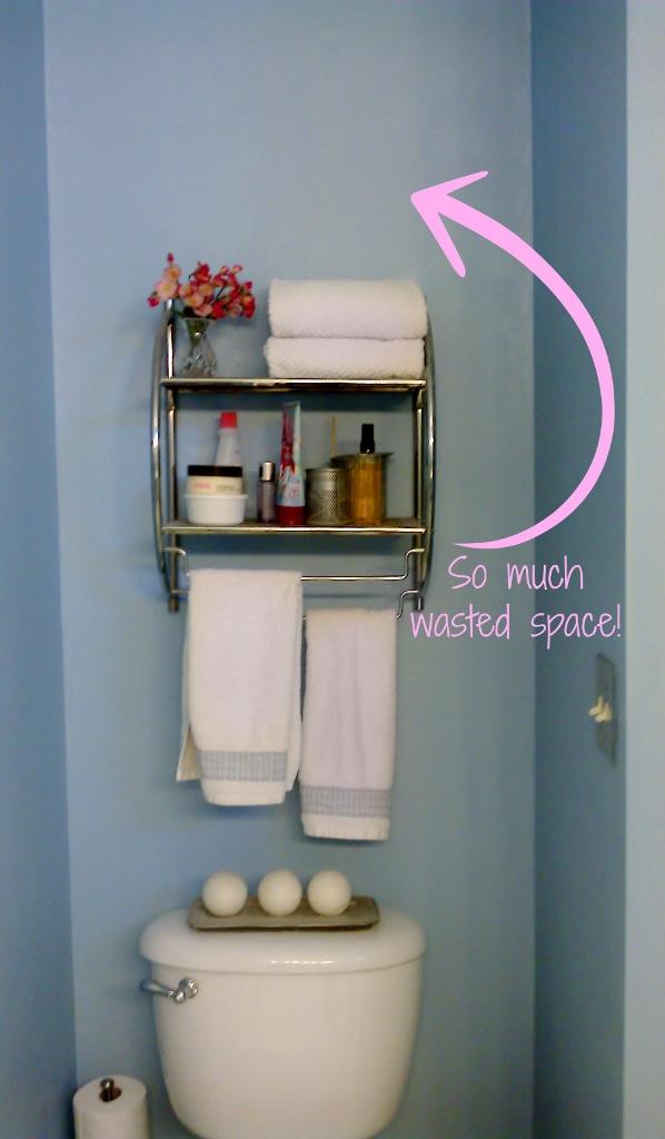 DIY Built In Bathroom Storage Shelves (Before Pic) | missfrugalfancypants.com & DIY Bathroom Storage (Over the Toilet) - Miss Frugal Fancy Pants