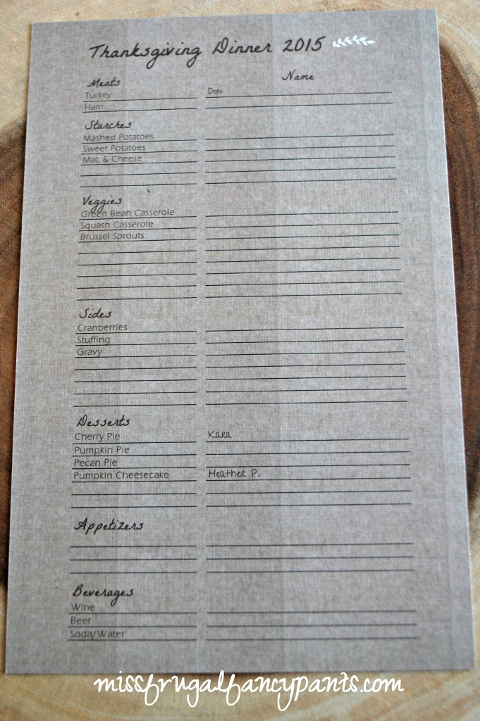 Send Guests a List (on the back of invitations) to Keep Track of Food Assignments for Potluck Thanksgiving | missfrugalfancypants.com