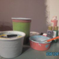 arts and crafts time! lets re-use cottage cheese containers, make pretty containers