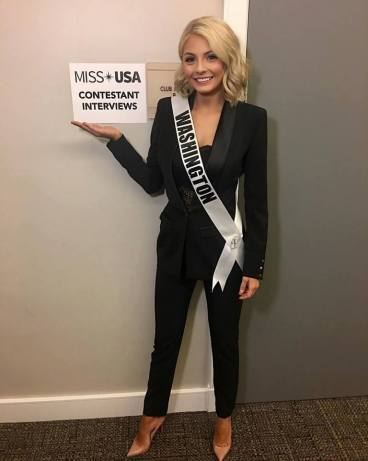Miss Washington USA 2017 Alex Carlson-Helo before her private interview with the judges. Photo: Pageant Update