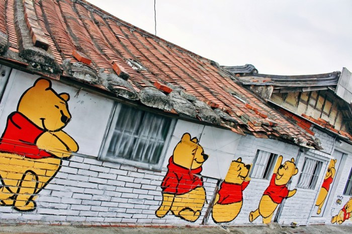 台南下營景點【A贏小熊維尼彩繪村】繽紛童趣彩繪村!不只有維尼而已!還有超多卡通人物好好拍!完全免費參觀!