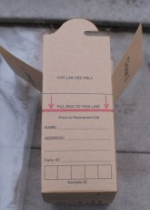 Assemble your sample box and fill it to the line indicated. This amount is a minimum.
