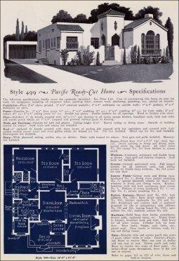 Американский дом: план, стиль Пуэбло, испанский индейский. 1920 год, компания Pacific Ready Cut Homes. Источник http://www.antiquehomestyle.com/