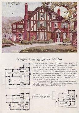 Американский дом: план, английский стиль Тюдор. 1923 год, компания Morgan. Источник http://www.antiquehomestyle.com/