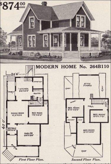 Американский дом: план, фермерский традиционный. 1916 год, компания Sears. Источник http://www.antiquehomestyle.com/