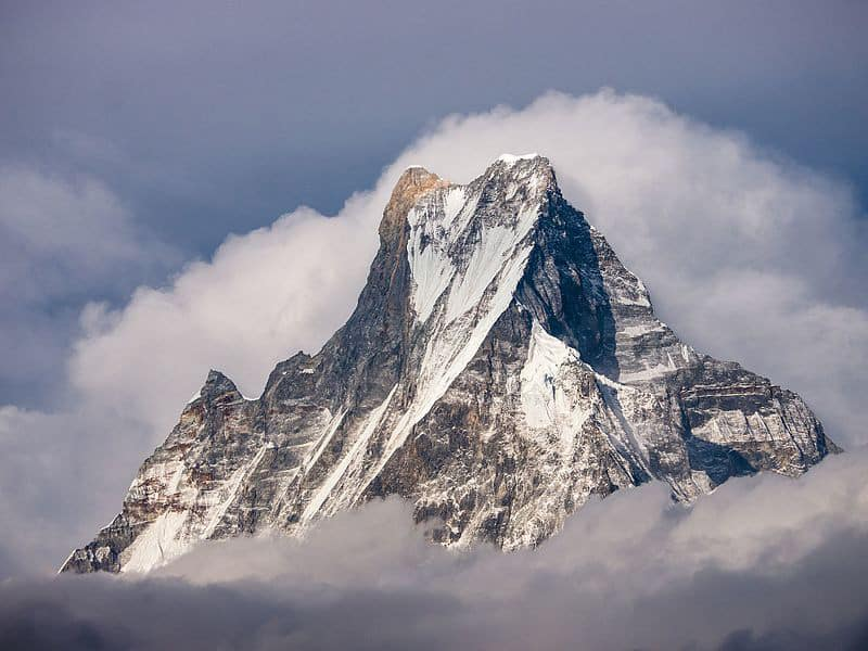 Machhapuchhare, view from Tadapani source Wikipedia