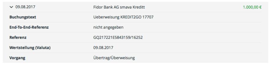 Überweisung des Kreditbetrages von der Fidor Bank