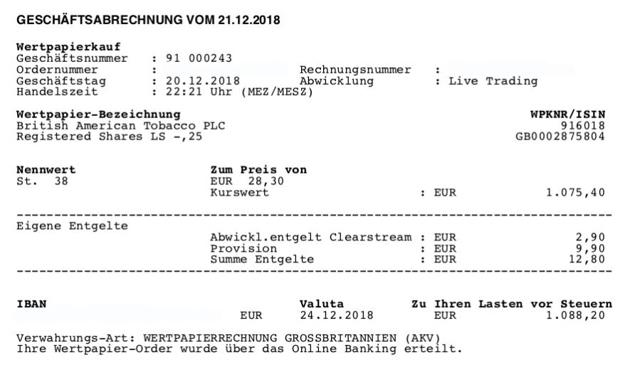 ETFs raus - Kauf von BAT 20.12.2018