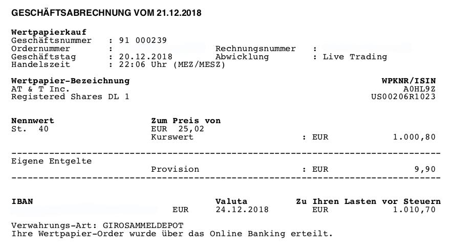 ETFs raus - Kauf von T 20.12.2018