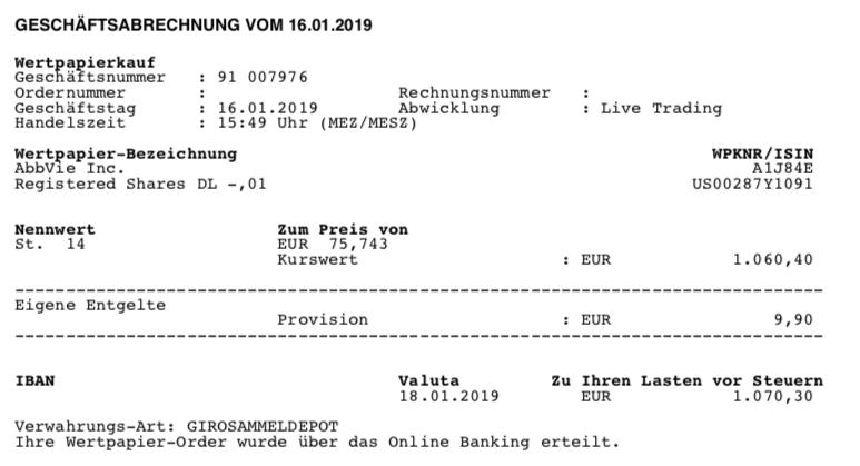 Kauf von Abbvie - Januar 2019