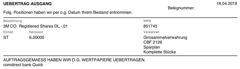 Depotübertrag 3M Company - Ausgang Consorsbank
