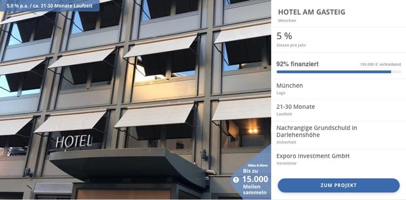 Exporo Finanzierung Beispiel 2 - In Immobilien investieren