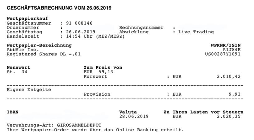 Kauf von AbbVie - Juni 2019