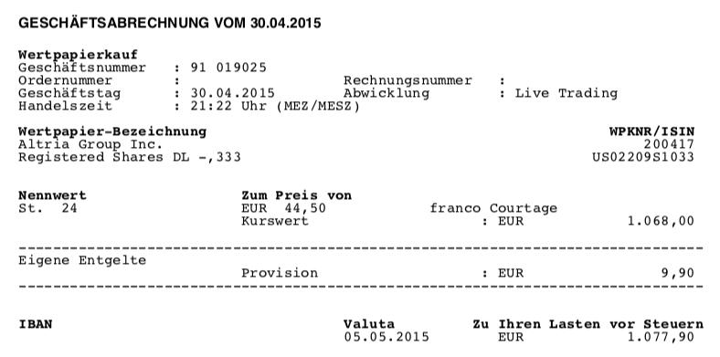 Kauf von Altria Group - April 2015