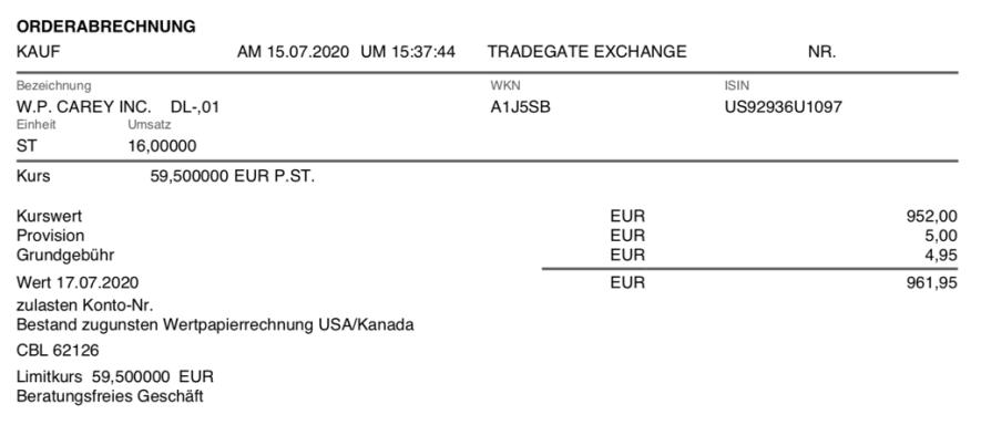 Kauf von W. P. Carey - Juli 2020