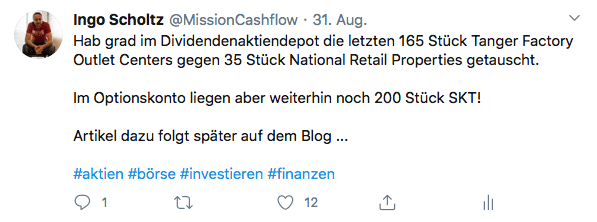 Twitter im August - Mission-Cashflow - Kauf von National Retail Properties