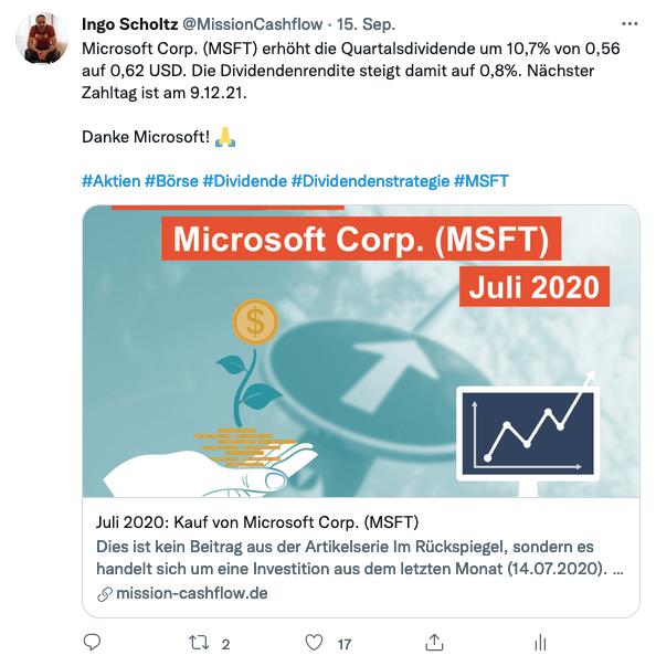 Twitter im September - Mission-Cashflow - Passives Einkommen mit Dividenden