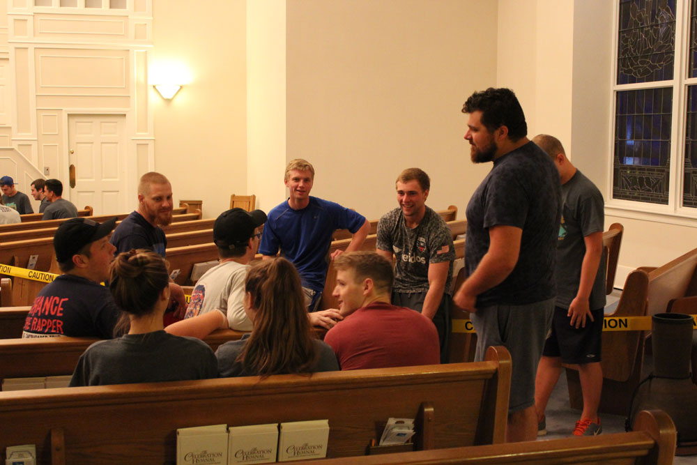 A group of participants from Powhatan enjoying their small group devotion