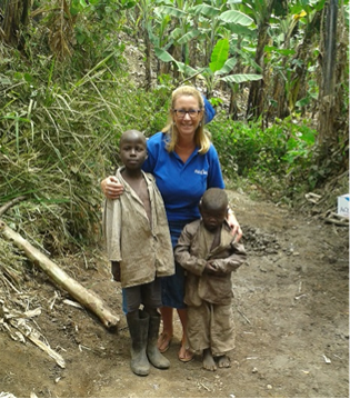 Sue and local children