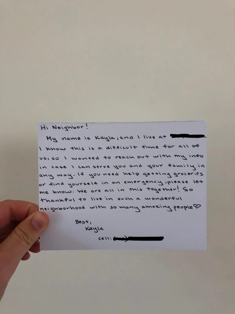 Dear Neighbor card example