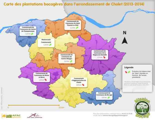 Carte plantations arrondissement Cholet