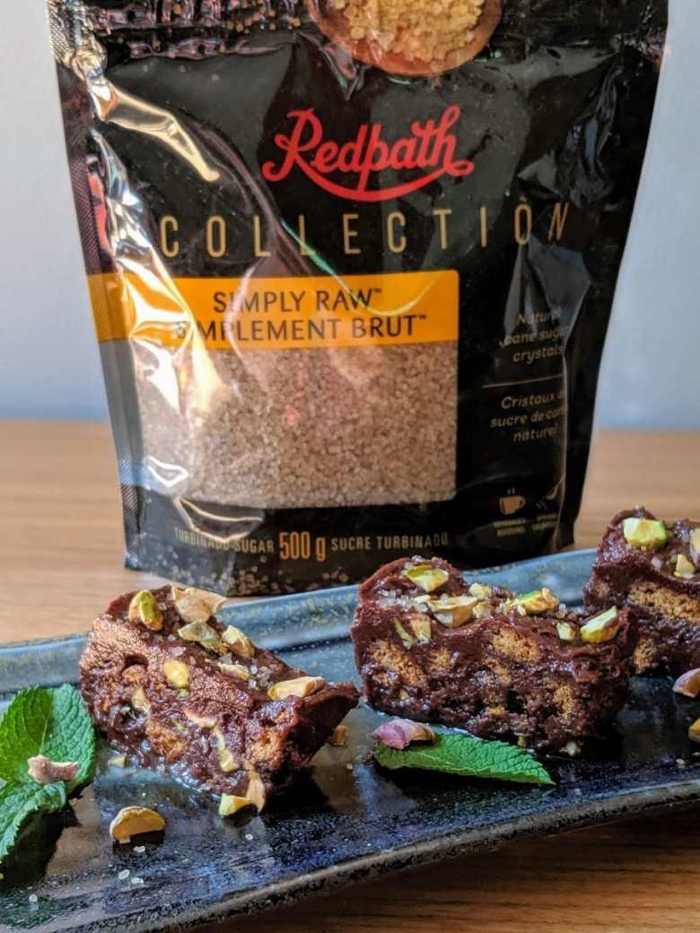 Terrine chocolat pistache inspirée par Sucre Redpath