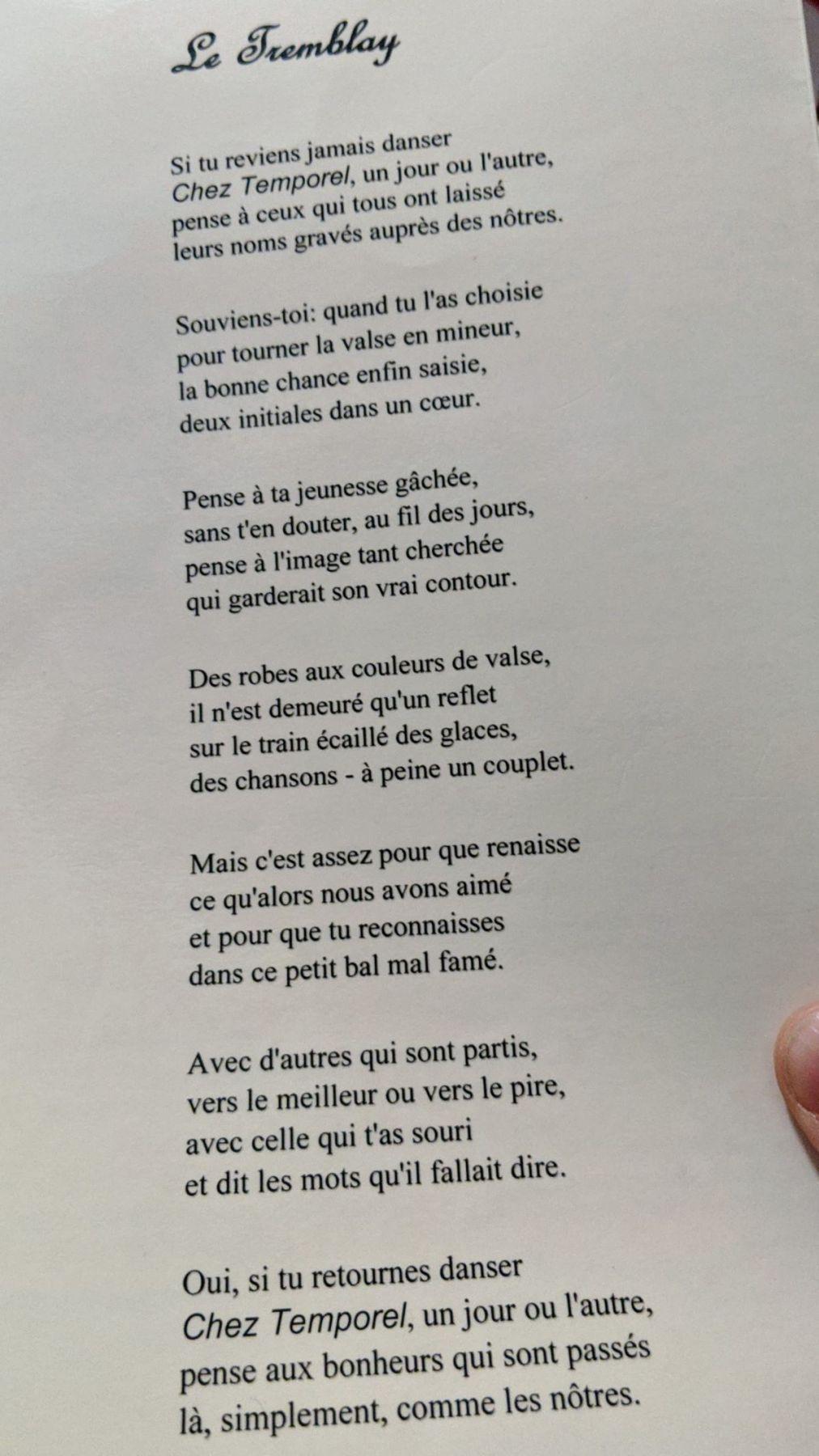 Le Tremblau poème André
