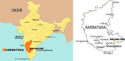 Carte de la région du KARNATAKA en Inde