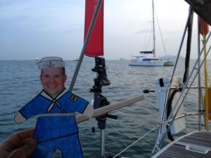 3. Flat Mr. Davis checked to see if Joyful's anchor was holding at the Isla Flamenco anchorage.