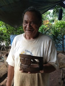 37. Emmanuel's father, one of the last surviving master wood carvers on Nuku Hiva, showed us the magnificent, detailed wooden crown he created.  He carved ancient Nuku Hivan symbols into the wood.  The wood came from a special tree on the island.