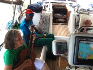 44. Music ministry - Anne in Lake Gatun playied her guitar after brealfast for Joyful's line handlers and the Panama Canal Advisor.