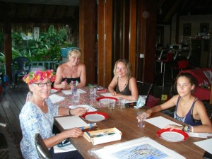 45. Anne with some art ministry students in Bora Bora. They enjoyed painting for hours, even the young 7 year old girl who was not in this photo!