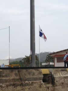 52.  Panamanian flags proudly flew throughout the canal.