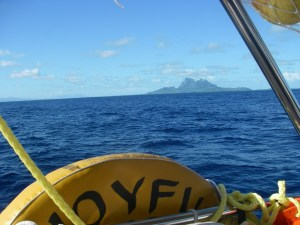 8. A photo of Bora Bora from Joyful's helm as we sailed to this gorgeous island known as, The Pearl of the Pacific.