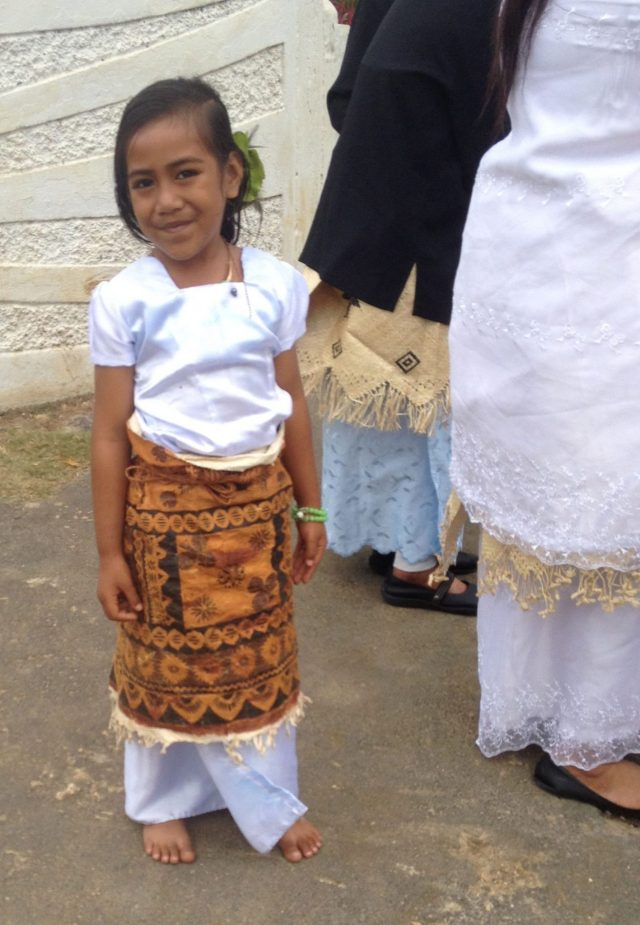 11. This sweet Tongan girl wore her best Tapa cloth wrap to church, showing her allegance to the crown of Tonga. Her mother and grandmother are also wearing a traditional wrap, made of hibiscus bark