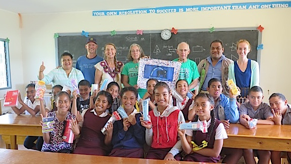 113. 6th grade students from the Vava'u Side School thank Anne, Jeff, Maria, and her husband for donating school supplies and for arranging a Skype session with the Round Hill Elementary School students in Virginia, USA