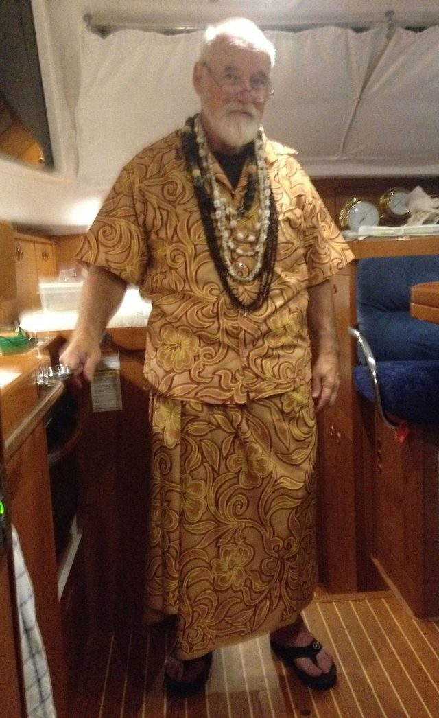 16. The Nunue team presented Bill with a custom made Polynesian pareo, shirt and leis to honor him.  They also invited him to be their guest of honor at the Heiva final competition