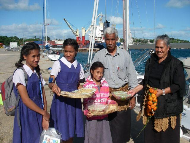 166. Bon Voyage feast from Soakai, Ana, Kilisitina, Otolose, and Tiara wish Joyful a fond fairwell. They gave us their friendship, blessings, presents and a traditional Tongan fairwell feast