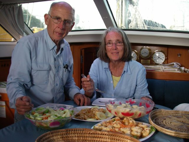 167. Bon Voyage feast - Jeff and Anne enjoy Soakai's family feast on Joyful before they set sail for Vanuatu