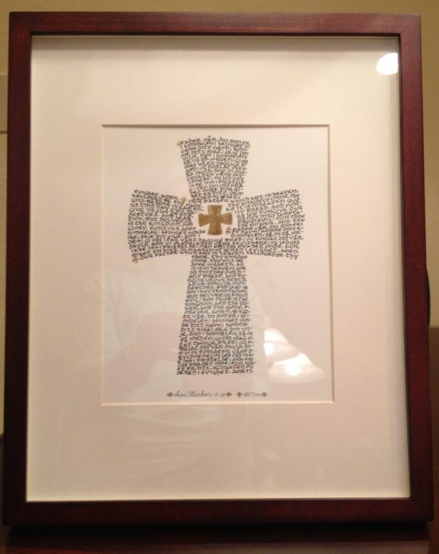 18. The Queen of Tonga now has one of the crosses I made depicting the Lord's Prayer in calligraphy. I taught her students in the local Wesleyan High School how to make the same cross to give as gifts or to sell commercially